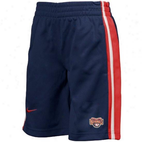 Nike Wasbington Nationals Youth Navy Blue Mlb Classic Mesh Shorts