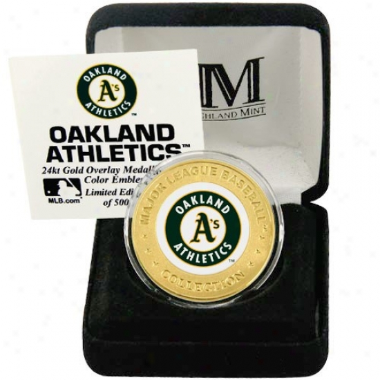 Oakland Athleyics 24kt Gold And Team Color Mint Coin