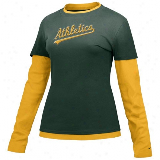 Oakland Athletics Apparel: Nike Oakland Athletics Green Ladies Double Layer Cut Out Long Sleeve T-shirt