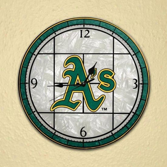 Oakland Athletics Art-glass Cpock