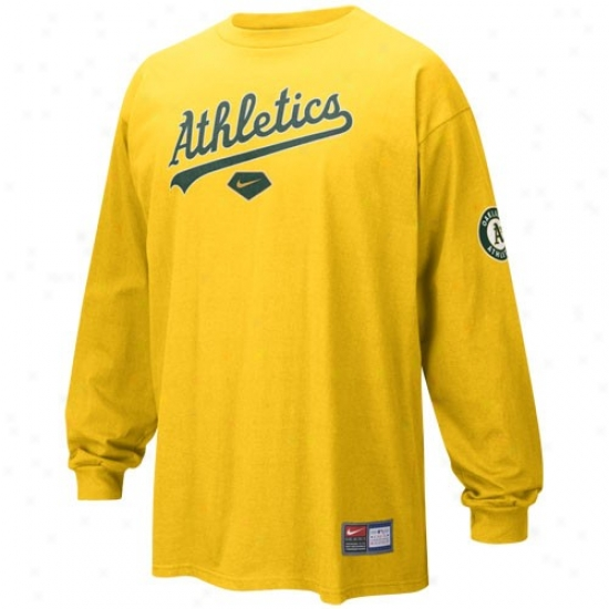 Oakland Athletics Attire: Nike Oakland Athletics Gold Practice Slow Sleeve T-shirt
