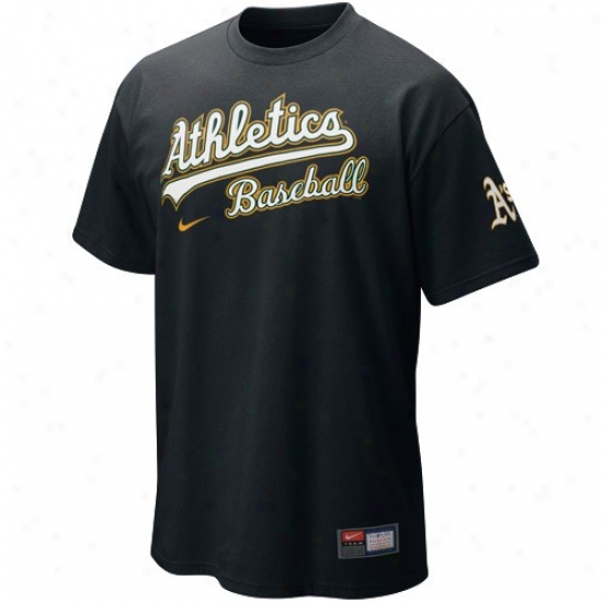Oakland Athletics Attire: Nike Oakland Athletics Black Mlb 2010 Actions T-shirt