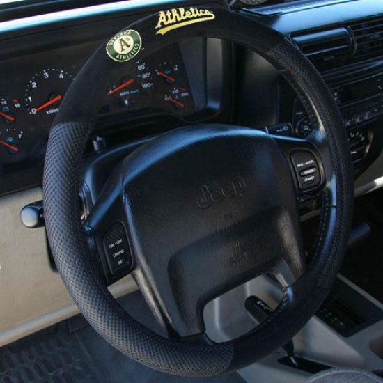 Oakland Athletics Black Poly Suede & Mesh Steering Wheel Cover
