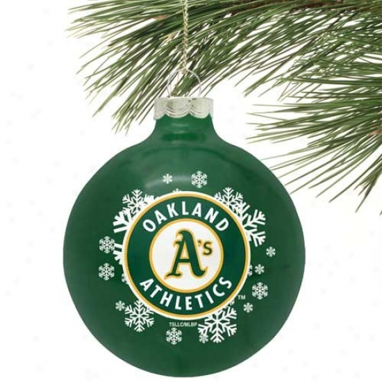 Oakland Athletics Green Snowflake Glaass Ornament