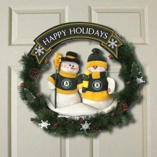 Oakland Athletics Happy Holidays Wreath