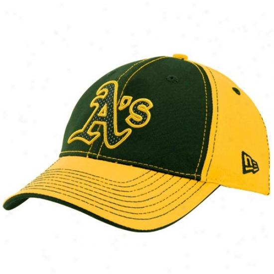 Oakland Athletics Hat : Starting a~ Era Oakland Athletics Green-gold Nubussy Adjustable Hat