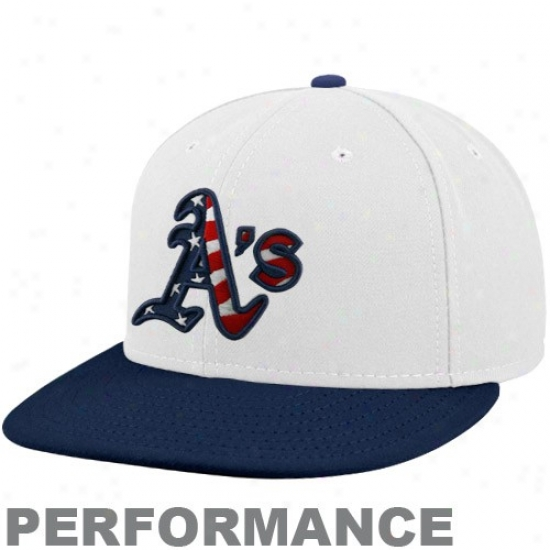 Oakland Athletics Hats : New Era Oakland Athletics White-navy Blue Stars & Stripes On-field 59fifty Fitted Acting Hats