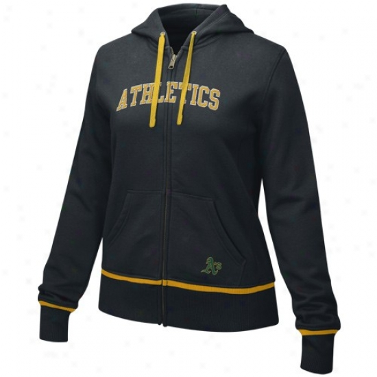 Oakland Aghletics Hoody : Nike Owkland Athletics Ladies Black Full Zip Fan Hoody