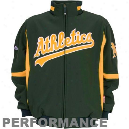 Oakland Athletics Jacket : Majestic Oakland Athletics Green Therma Base Premier Elevation Performance Jacket