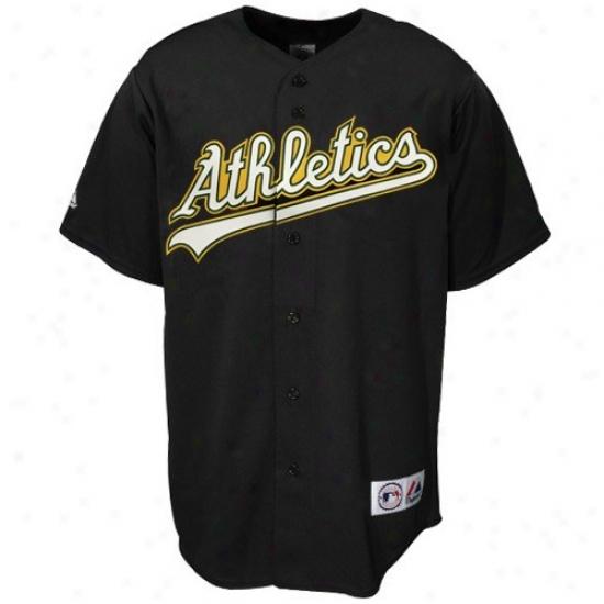 Oakland Athletics Jersey : Majestic Oakland Athletics Black Replica Baseball Jersey