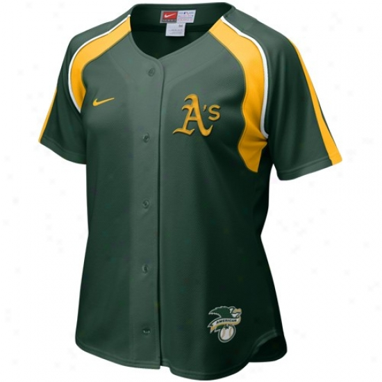 Oakland Athletics Jersey : Nike Oakland Athletics Unseasoned Ladies Home Plate Baseball Jersey
