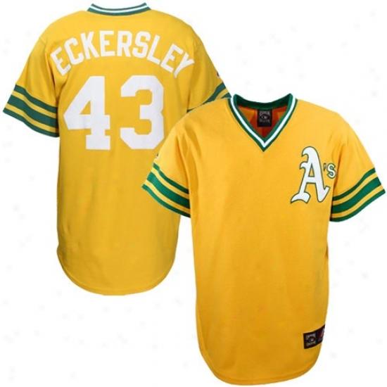 Oakland Athletics Jerseys : Majestic Oakland Athletics #43 Dennis Eckersley Gold Throwback Replica Baseball Jerseys