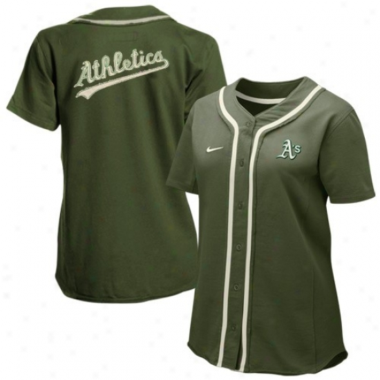 Oakland Arhletics Jerseys : Nike Oakland Athletics Ladies Green Batter Up Full Button Jerseys