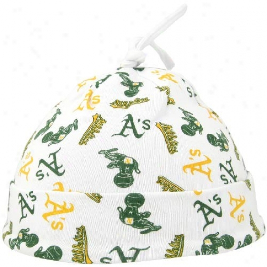 Oakland Athletics Merchandise: Twins Enterprise Oakland Athletics White Newborn Knot Cap