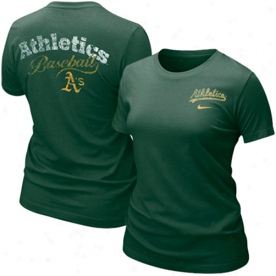 Oakland Athletics T Shirt : Nike Oakland Athletics Ladies Green Graphic Tri-blwnd T Shirt