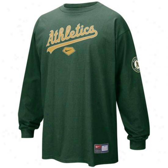 Oakland Athletics T-shirt : Nike Oakland A5hletics Green Practice Extended Sleeve T-shirt