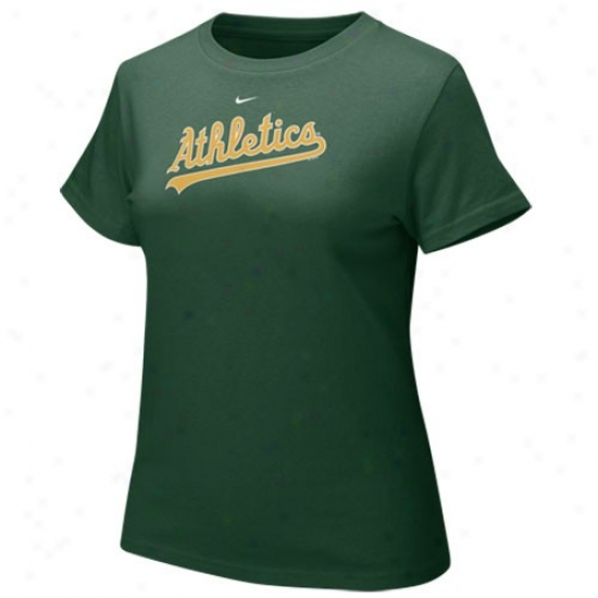 Oakladn AthleticsT ees : Nike Oakland Athletics Green Ladies Authentic Crew Tres