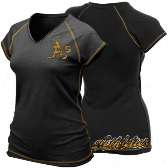 Oakland Athletics Tshirt : Nike Oakland Athleticx Ladies Black Bases Loaded Tshirt