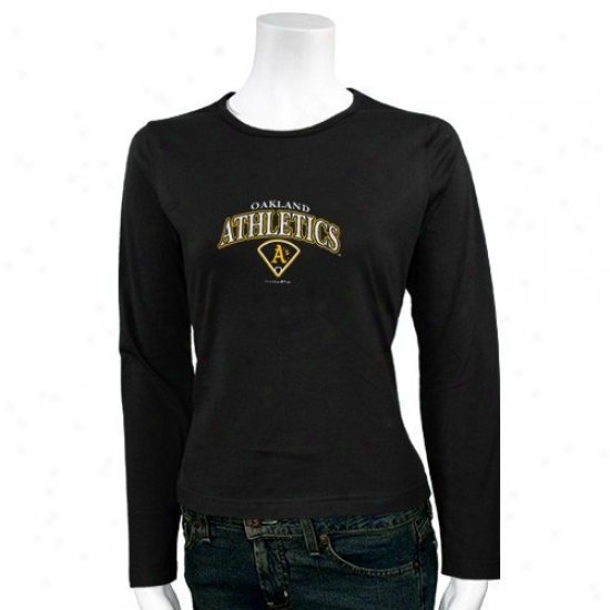 Oakland Athletics Tshirt : Oakland Athletics  Black Ladies Roguish Lobo Brilliant Long Sleeve Tshirt