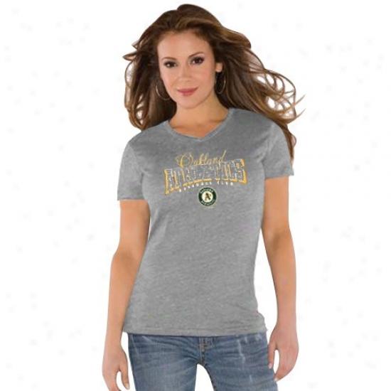 Oakland Athletics Tshirt : Animadversion By Alyssa Milano Oakland Atheltics Ladies Ash Dazzle V Triblend Tshirt