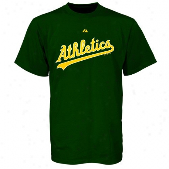 Oakland Athletics Tshirts : Majestic Oakland Athletics Green Wordmakr Tshirts