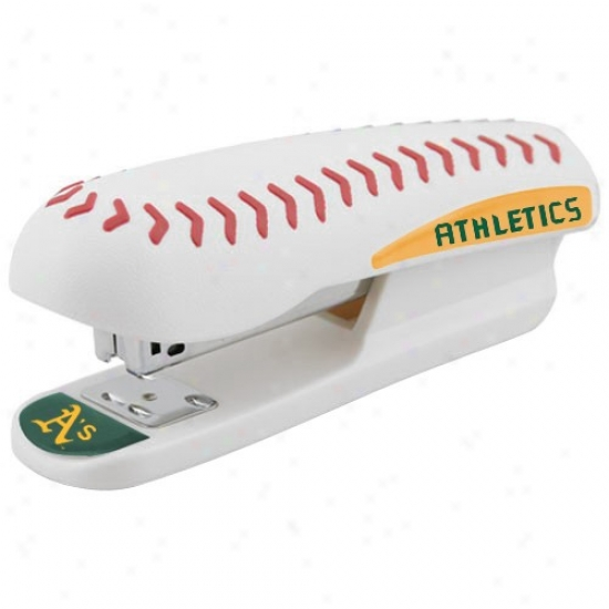 Oakland Athletics White Pro-grip Baseball Stapler
