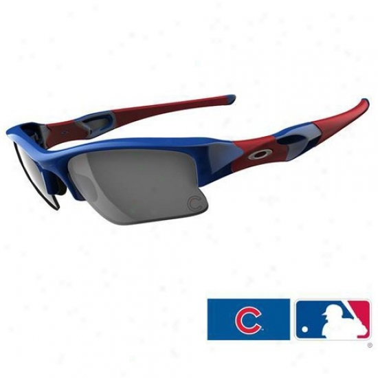 Oakley Chicago Cubs Royal Blue-red Flak Jacket Xlj Sunglasses