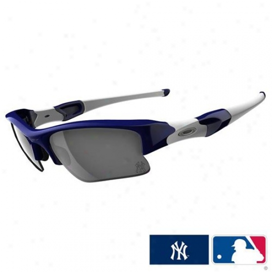 Oakley New York Yankees Navy Blue-gray Flak Jacket Xlj Sunglasses