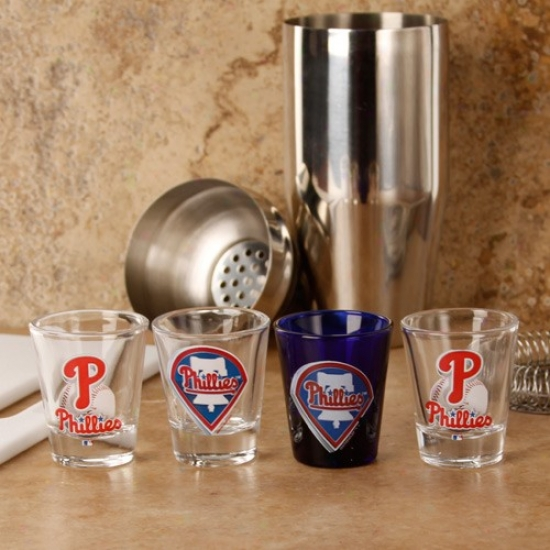 Philadelphia Phillies 4-pack Enhanced Hi-def_Design Shot Glass Set
