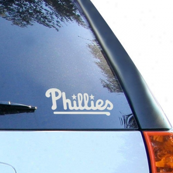 Philadelphia Phillies 5'' X 6'' Silver Window Graphic eDcal