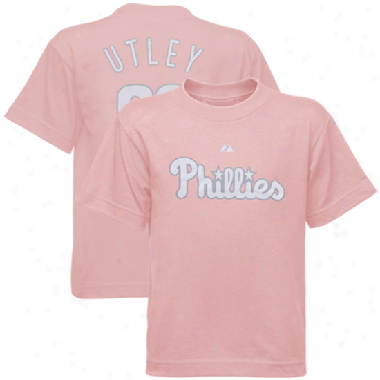 Philadelphia Philles Apparel: Majestic Pniladelphia Phillies #26 Chase Utley Preschool Girls Pink Player T-shirt