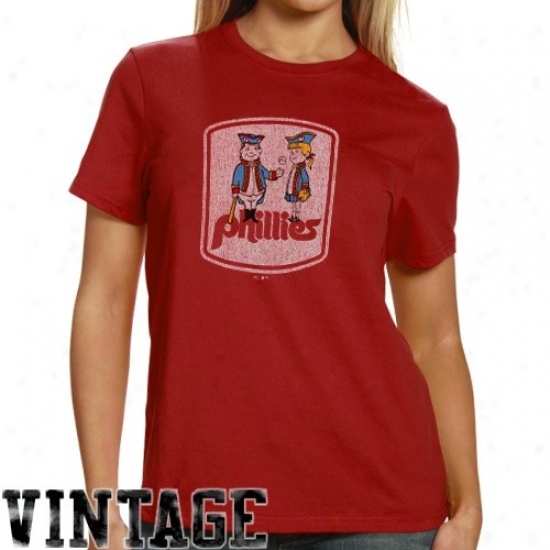 Philadelphia Phillies Apparel: Majestic Select Philzdelphia Phillies Ladies Red Official Logo Single Premium T-shirt