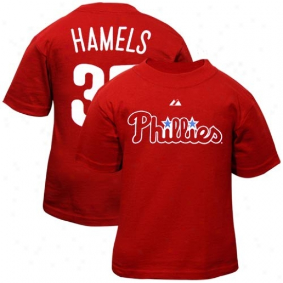 Philadelphia Phillies Attire: Majestic Philadelphia Phillies #35 Cole Hamels Toddler Red Player T-shirt