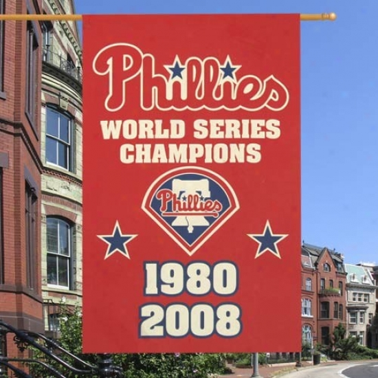 Philadelphia Phillies Flags : Philadelphia Phillies Red Vertical World Series Champions Applique Flags