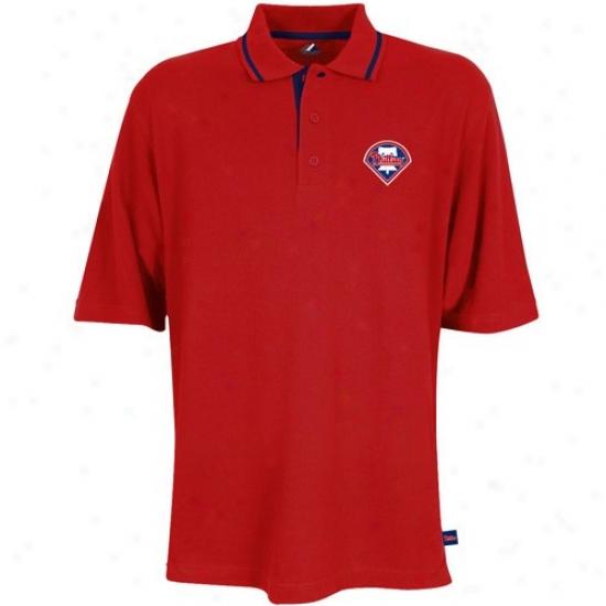 Philadelphia Phil1ies Golf Shirts : Majestic Philadelphia Phillies R3d Coaches Choice Golf Shirts