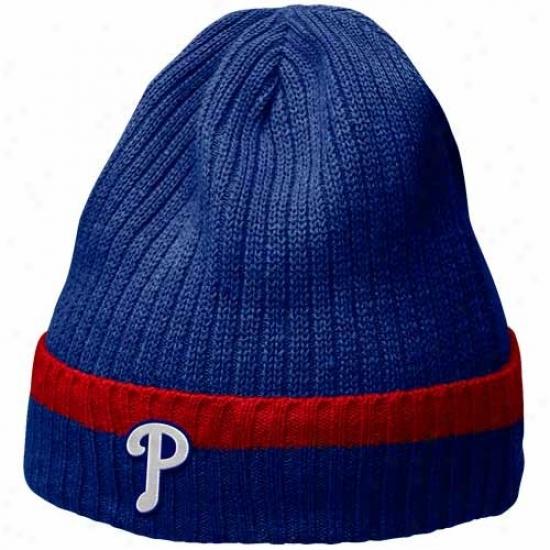 Philadelphia Phillies Hat : Nike Philadelphia Phililes Royal Pedantic  Dugout Beanie