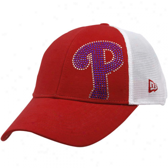 Philadelphia Phillies Hats : Repaired Era Philadelphia Phillies Ladies Red-whige Jersey Shimmer Adjustable Hats