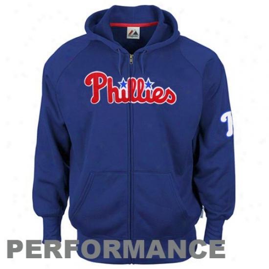 Philadelphia Phiolies Hoodies : Majestic Philadelphia Phillies Royal Blue Gaining Ground Performance Full Zip Hoodies