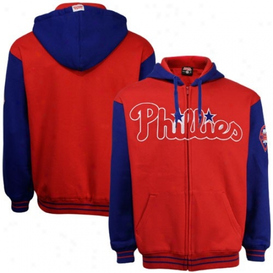 Philadelphia Phillies Hoodies : Philadelpha Phillies Red-royal Blue Heavyweight Full Zip Hoodies