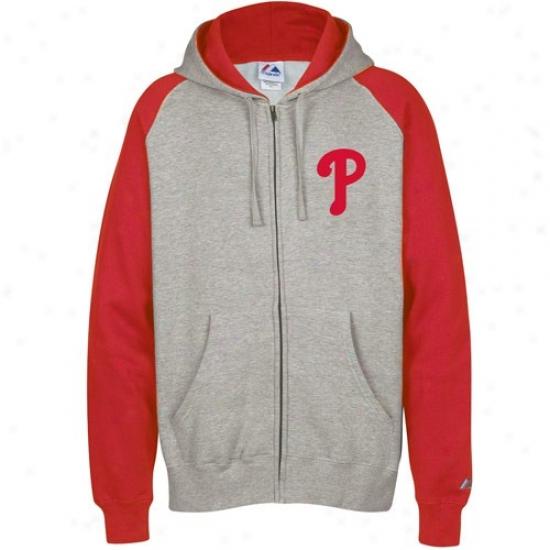 Philadelphia Phillies Hoody : Majestic Philadelphia Phillies Ash Classic Full Zip Hoody