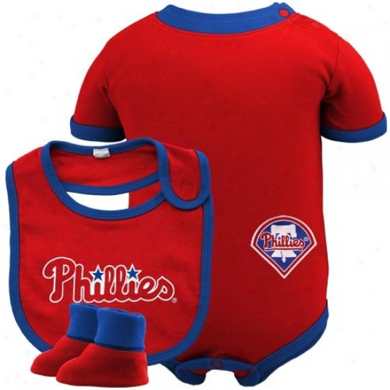 Philadelphia Phillies Infant Red Bwseball Bib & Booties Set