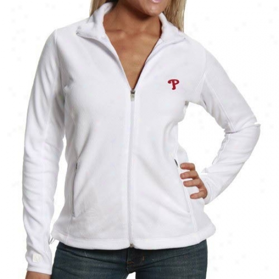Philadelphia Phillies Jerkin : Antigua Philadelphia Phillies Ladies White Sleet Full Zip Fleece Jacket