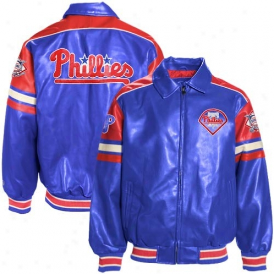 Philadelphia Phillies Jacket : Philadelphia Phillies Royal Blue Pleather Varsity Jacket