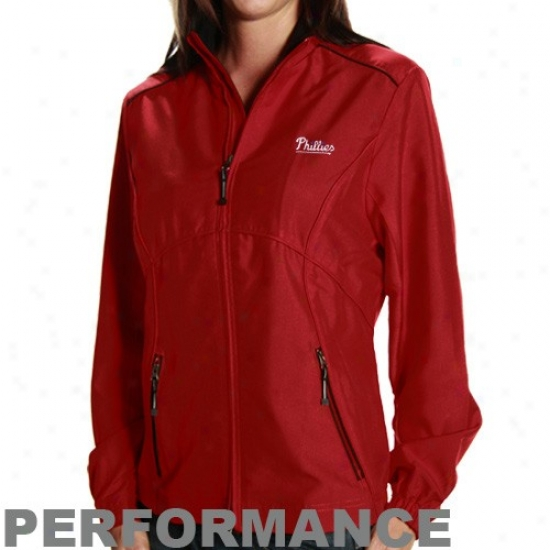 Philadelphia Phillies Jackets : Cutter & Buck Philadelphia Phillies Ladies Red Windtec Performance Jackets