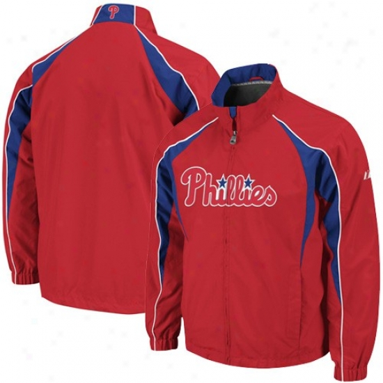 Philadelphia Phillies Jackets : Majestic Philadelphia Phillies Red Vindicator Full Zip Wind Jackets