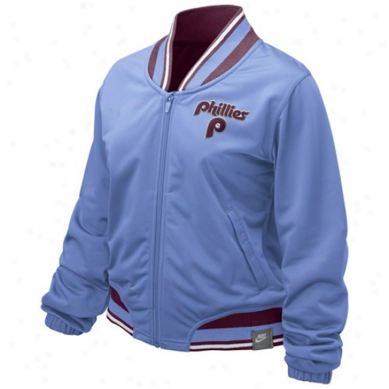 Philadelphia Phillies Jackets : Nike Philadelphia Phillies Ladies Light Blue Outta The Park Full Zip Jackets