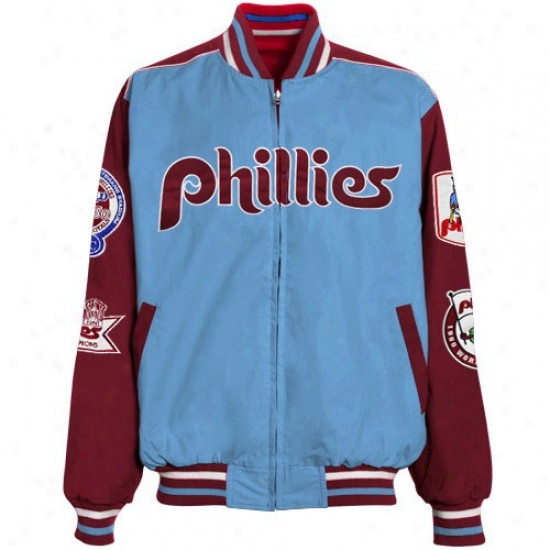 Philadelphia Phillies Jackets : Philadelphia Phillies Ligh Blue-red eRversible Team Varsity Full Zip Jackets