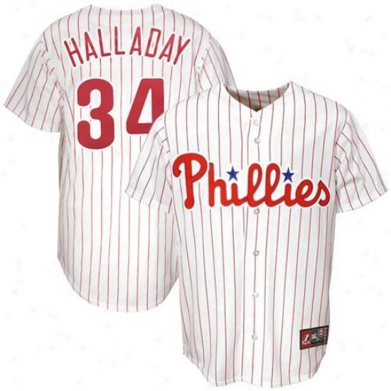 Philadelphis Phillies Jersey : Majestic Philadelphia Phillies #34 Roy Halladay White Pinstripe Replica Baseball Jersey