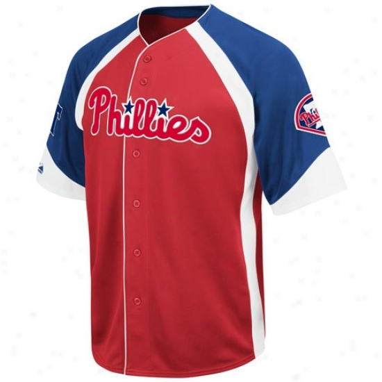 Philadwlphia Phillies Jersey : Majestic Philadelphia Phillies Red-royal Blue Wheelhouse Baseball Jersey