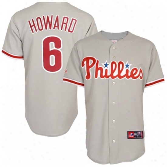 Philadelphia Phillies Jersey : Majestic Ryan Howard Philadelphia Phillies Replica Jersey- #6 Gray